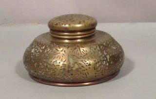 Large Tiffany Studios Bronze & Leaded Glass Inkwell Grapevine Pattern