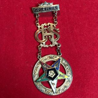 10k Gold 17.  6g.  Vintage Masonic Order Of The Eastern Star Past Patron Medal