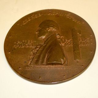 Antique Bronze George Washington Memorial Medal By Augustus St.  Gaudems