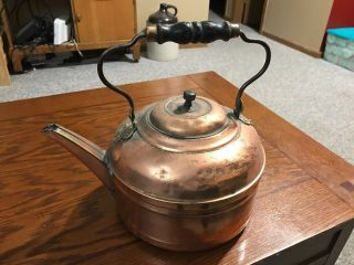 "Vintage Copper Coffee Tea/water Kettle Wood Handle Rare Large 10 1/2"" Pot"