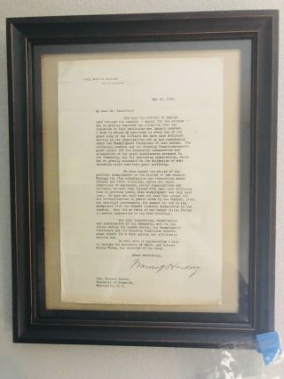 Rare 29th President Warren Harding 1922 White House Typed And Signed Letter