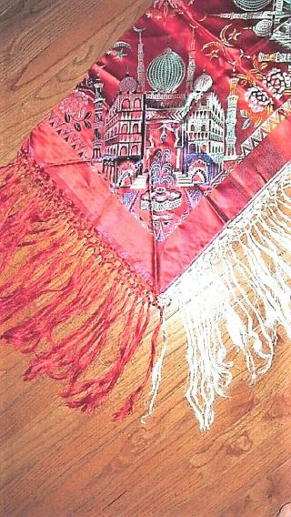 Vtg Wwii Red Taj Mahal Style Embroidered Tablecloth Piano Shawl W Fringe