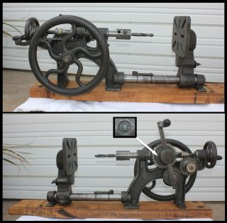 Antique W Mark Wall Beam Post Mount Hand Crank Iron Drill Press W Orig Wrench