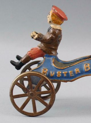 RARE 19thC Antique Buster Brown & Tige American Cast Iron Pull Bell Toy 4