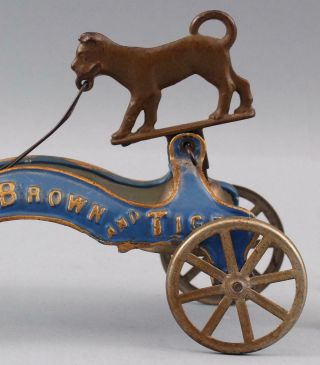 RARE 19thC Antique Buster Brown & Tige American Cast Iron Pull Bell Toy 5