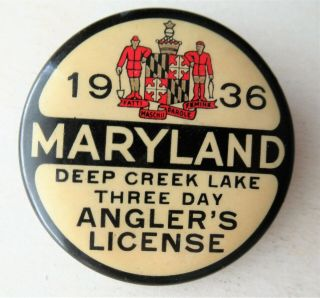 Vintage 1936 Maryland - Deep Creek Lake - 3 Day Angler ' s License 2
