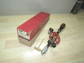 Vintage Millers Falls 5a Hand Drill W/box & Label Fine Barely 7 Bit & Awl