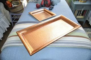 "Set Of 2 Vintage Hammered Copper Serving Trays 28 "" X 13 "" & 13 "" X 13 """