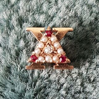 Vintage Delta Chi Fraternity 14k Gold Pearl Diamond Ruby Indiana Pin - Wow