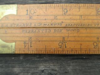 Antique E.  A.  Stearns,  Co Folding Boxwood Brass Bound Ruler Brass Extension