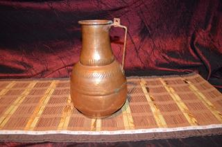 """Large Antique Hand Hammered Copper Pitcher Vase Decor With Copper Handle 10 """""""