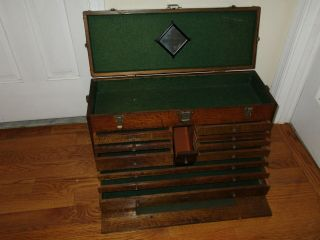 Antique H.  Gerstner & Sons 11 Drawer Large Oak Wood Machinist Tool Chest Box
