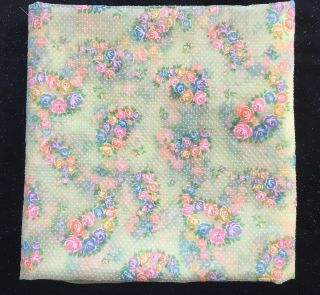 Vintage Flocked Swiss Dot Sheer Fabric 96 X 34 Floral Cabbage Roses Flowers