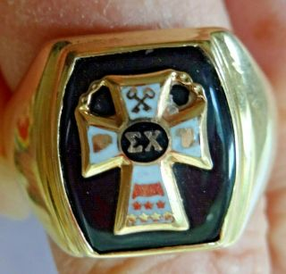 Vintage Sigma Chi 10k Gold Fraternity Ring 14gm Piece Solid Heavy