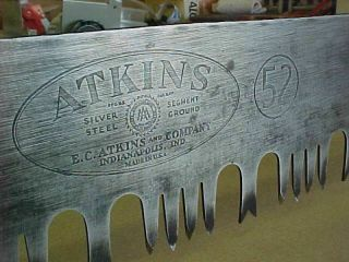Vintage Atkins 7 Ft.  52 Cross Cut Saw 84 In.  Lance Tooth Pattern Crosscut Saw
