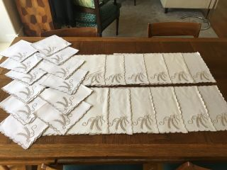 Vintage Marghab,  Wheat 12 Placemats,  Napkins.