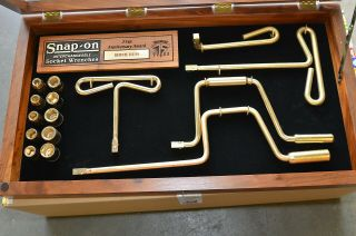 Snap - On Tools 75th Anniversary Award Gold Plated Socket Wrenches Set & Wood Case