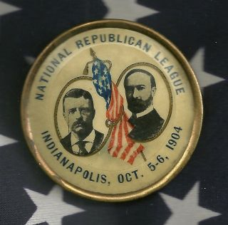 Teddy Roosevelt Political Campaign Pinback Button Indianapolis In Jugate 1904
