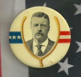 "Teddy Roosevelt Political Campaign Pinback Button Large 2 1/4 "" Gop Republican"
