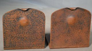 Antique Arts Crafts Albert Berry Hammered Copper Bookends Seattle Washington Old