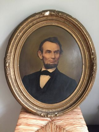 Abraham Lincoln Portrait Printed In Oil Colors,  1865 E.  C Middleton