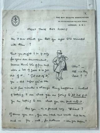 Boy Scout Official Letter Signed Baden Powell