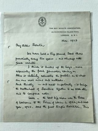 Boy Scout Official Letter Signed Baden Powell Dated On 1923