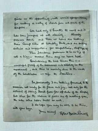 Boy Scout Official Letter Signed Baden Powell Dated On 1923 2