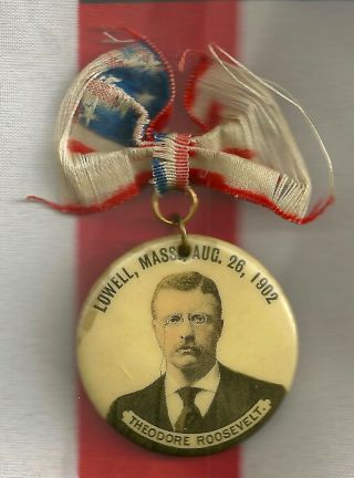 Teddy Roosevelt Political Campaign Pinback Button Lowell Massachusetts Ma Ribbon