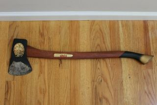 Vintage Plumb National Hickory Handle Single Bit Hatchet Axe Tool Usa