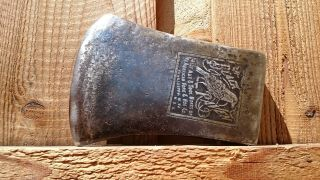 Vintage Embossed Kelly Black Raven Axe Head Connecticut Pattern Axe