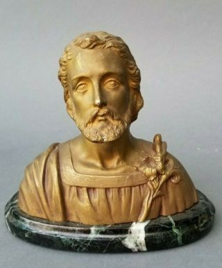 Antique Gilded Bronze Bust Of Christ With Lilies On Marble Base Signed