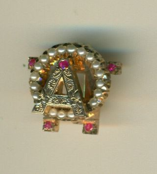 Vintage Alpha Omicron Pi Gold Ruby Pearl Sorority Indiana Pin - Wow