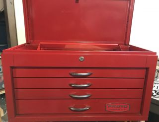 "Vintage Proto 26"" Wide 4 Drawer Tool Box Chest With Tray Shape 1982"