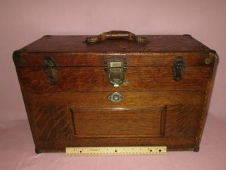 Antique H.  Gerstner & Sons 7 Drawer Oak Wood Machinist Tool Chest Box