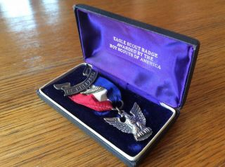 Vintage Sterling Silver Eagle Scout Award Ribbon Medal Pin And Palm Leaf Pin