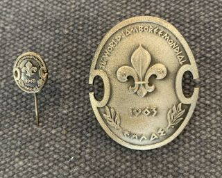 1963 Boy Scout World Jamboree Silver Mondial Staff Pin And Silver Staff Hat Pin