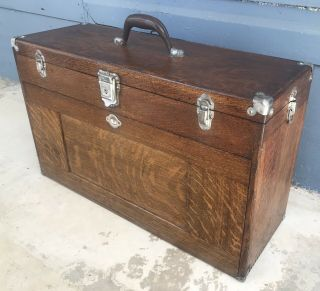 Antique Vintage H.  Gerstner Oak 11 Drawer Machinist Chest Tool Box Model O52
