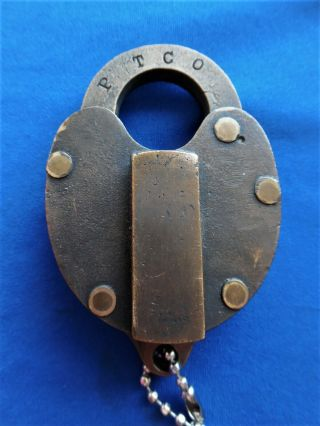 vintage antique P T CO keystone railroad lantern baggage padlock lock w key 3