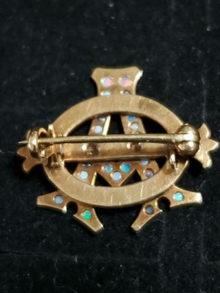 Pre - 1906 Alpha Phi Badge - with Opals - 2.  42 Grams - Lazy Phi Style 10