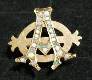 Pre - 1906 Alpha Phi Badge - with Opals - 2.  42 Grams - Lazy Phi Style 2