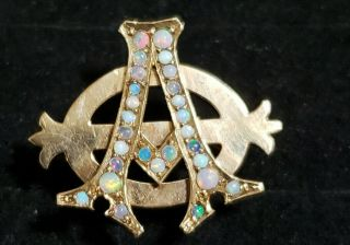 Pre - 1906 Alpha Phi Badge - with Opals - 2.  42 Grams - Lazy Phi Style 3