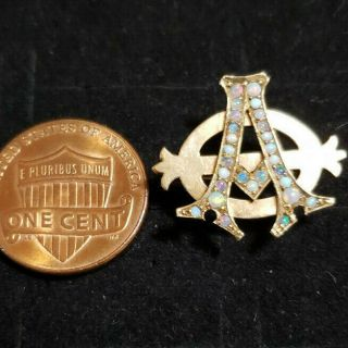 Pre - 1906 Alpha Phi Badge - with Opals - 2.  42 Grams - Lazy Phi Style 4