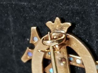 Pre - 1906 Alpha Phi Badge - with Opals - 2.  42 Grams - Lazy Phi Style 9