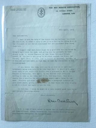 Boy Scout Official Letter Signed Baden Powell Dated On 1914