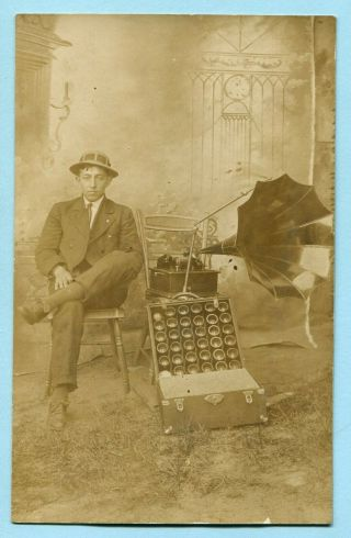 Rare 1910 Edison Standard Phonograph Rppc W/ Horn & Box Of Cylinders Real Photo