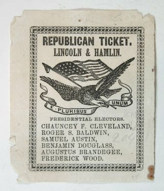 1860 Abraham Lincoln Illustrated Presidential Campaign Ballot From Connecticut