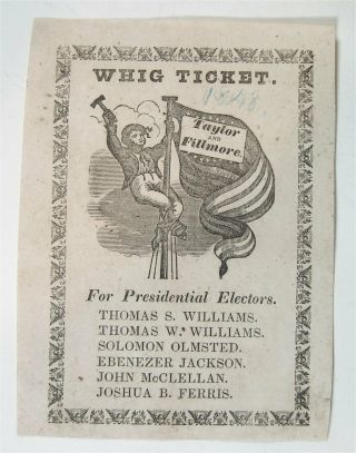 1848 Zachary Taylor Illustrated Presidential Campaign Ballot From Connecticut