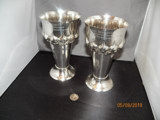 Pair Austro - Hungarian Silver Goblets.  Wars Of German Unification.  Unit Marked
