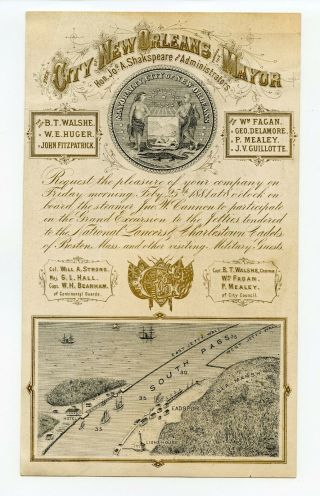 Political 1881 Mayor Orleans Invitation Card Military Cadet Great Graphics